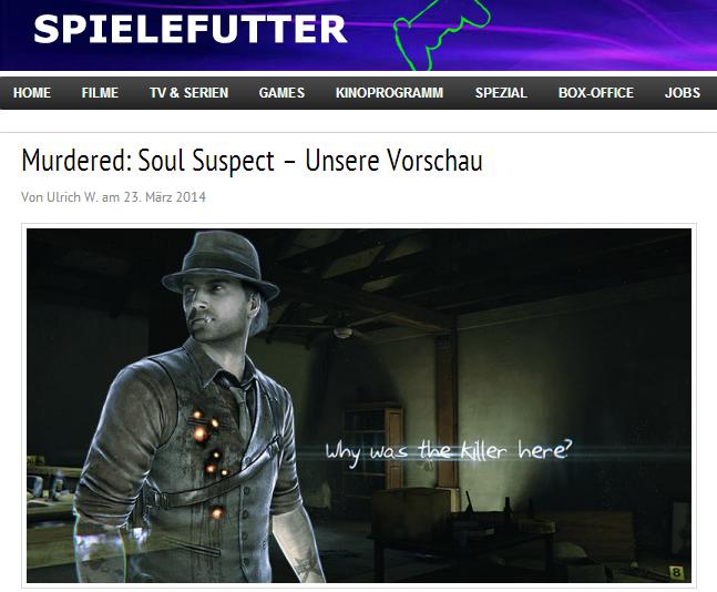 Murdered Soul Suspect - Ulrich Wimmeroth - filmfutter