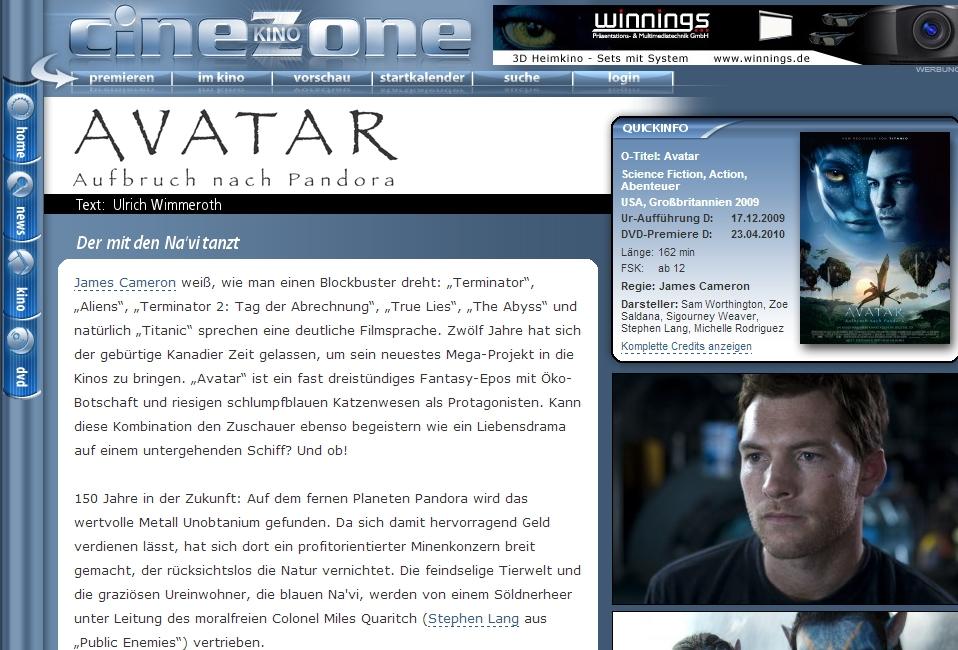 Ulrich Wimmeroth - Avatar - Filmkritik - Cinezone