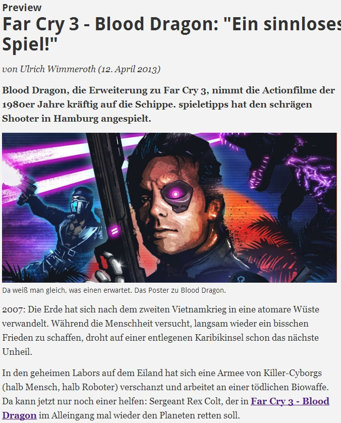 Ulrich Wimmeroth - Far Cry 3 - Blood Dragon Preview - spieletipps