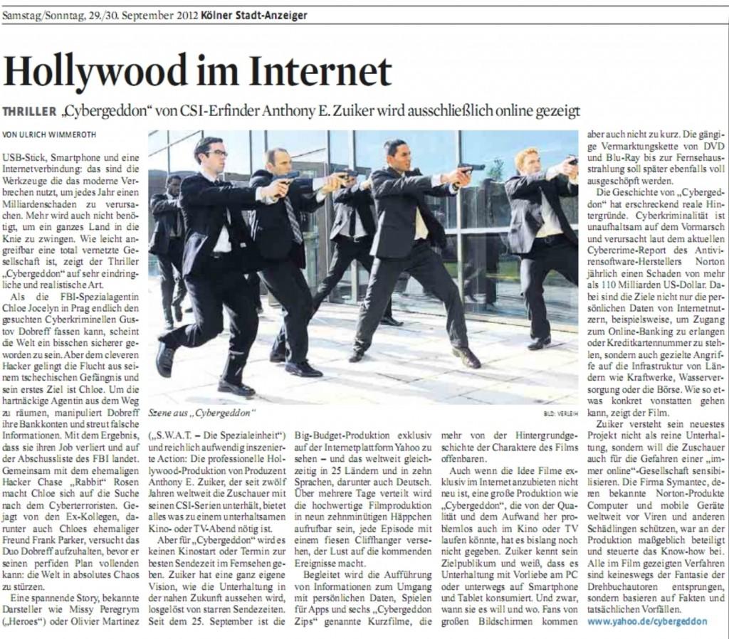 Ulrich Wimmeroth - Hollywood im Internet - Cybergeddon - Koelner Stadt-Anzeiger