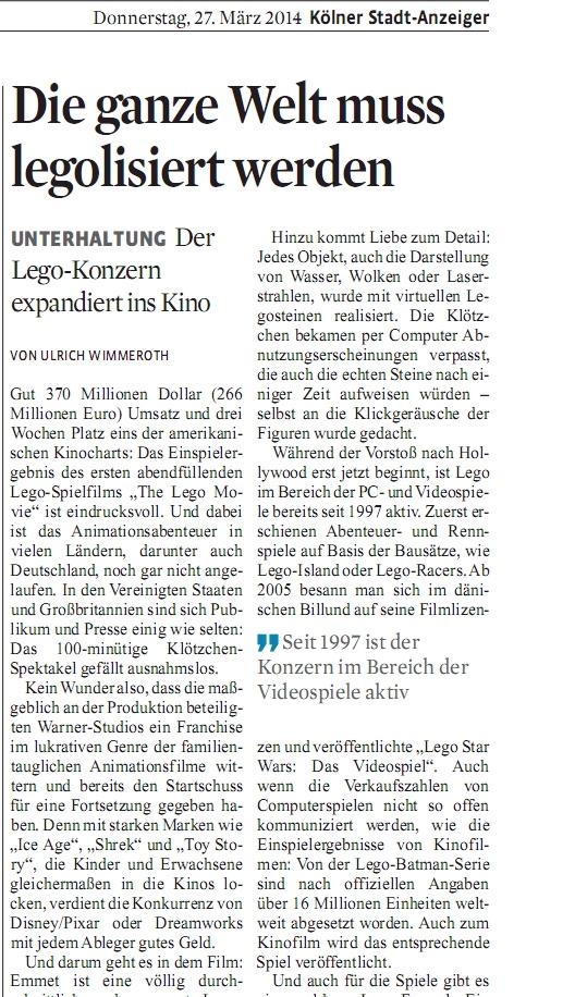Ulrich Wimmeroth - Koelner Stadt Anzeiger - LEGO der Film - LEGO Die Spiele Teil 1