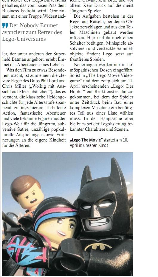 Ulrich Wimmeroth - Koelner Stadt Anzeiger - LEGO der Film - LEGO Die Spiele Teil 2