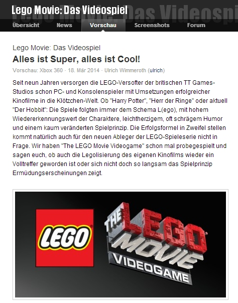 Ulrich Wimmeroth - LEGO The Movie Videogame - games.ch