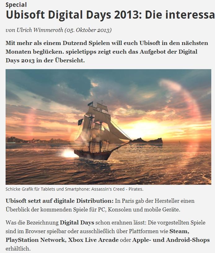 Ulrich Wimmeroth - Ubisoft Digital Days Paris - spieletipps