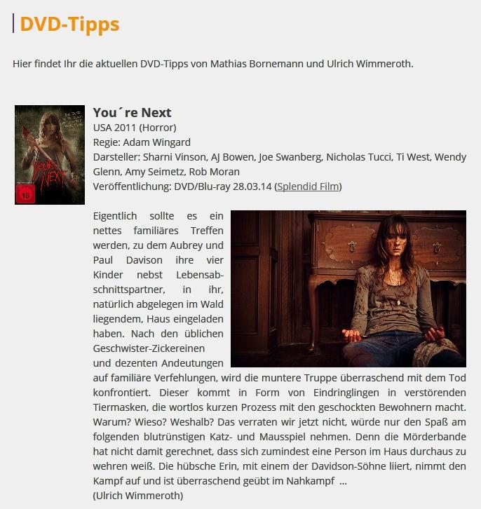 Ulrich Wimmeroth - Youre Next - Filmkritik - filmabriss