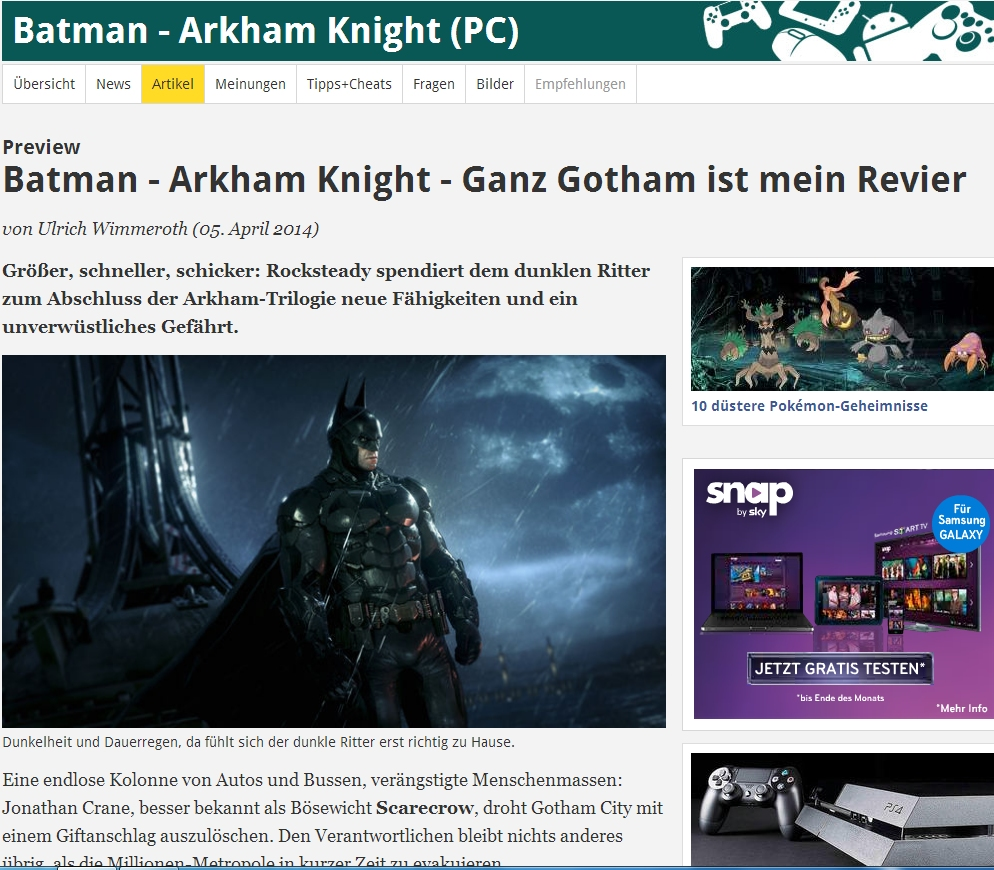 Ulrich Wimmeroth - Batman Arkham Knight - Preview - www.spieletipps.de