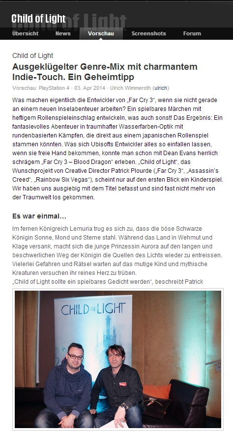 Ulrich Wimmeroth - Child of Light - www.games.ch