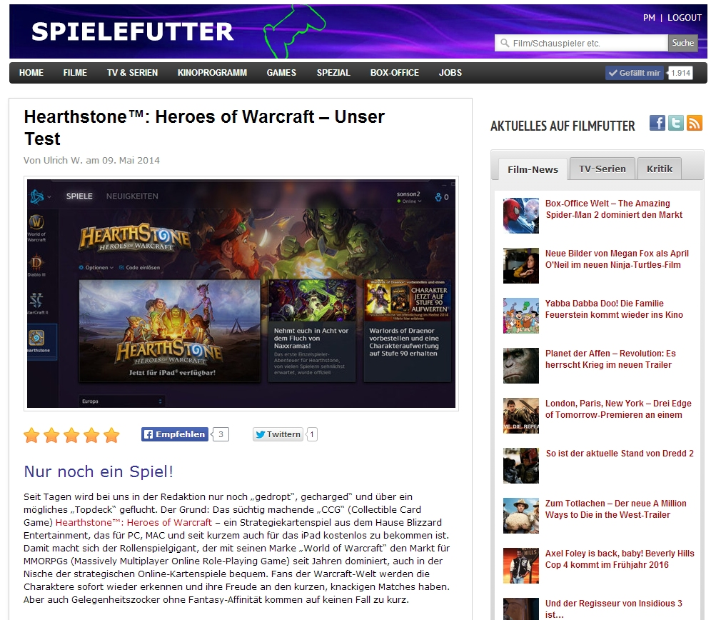 Ulrich Wimmeroth - Hearthstone Heroes of Warcraft - Review - Test