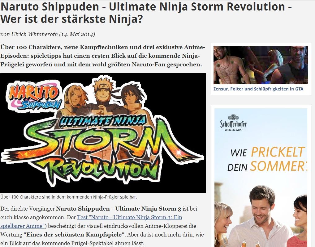 Ulrich Wimmeroth - Naruto Ultimate Ninja Storm Revolution - Preview - Vorschau