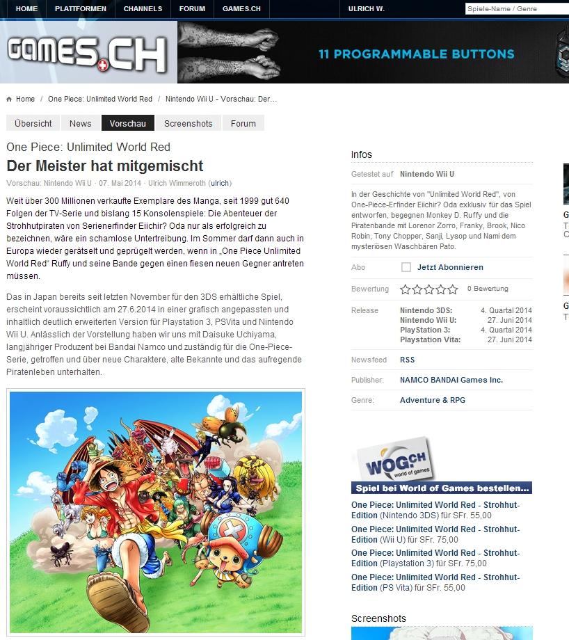 Ulrich Wimmeroth - One Piece Unlimited World Red - Preview - Vorschau