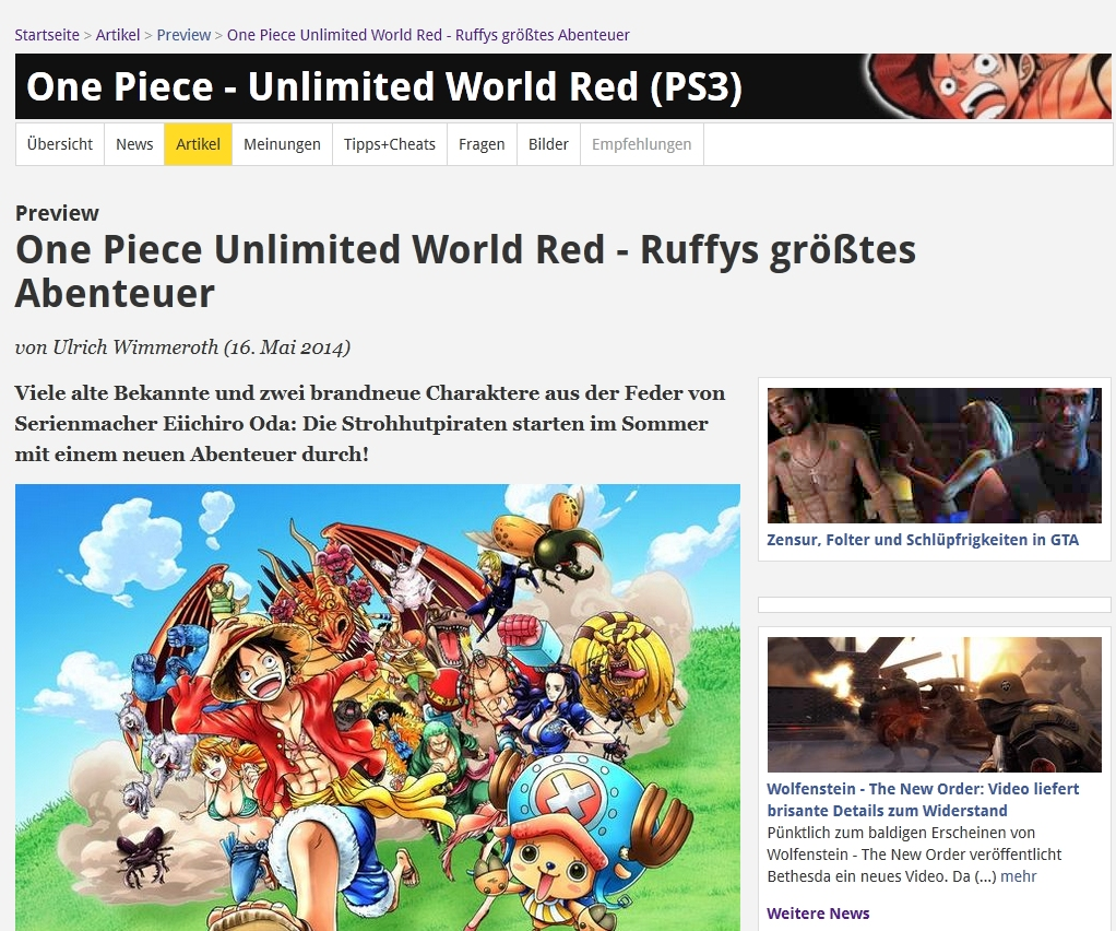 Ulrich Wimmeroth - One Piece Unlimited World Red -  Vorschau - spieletips.de