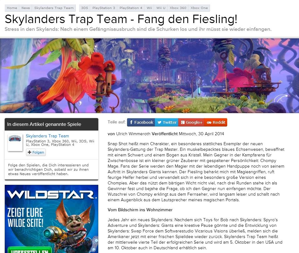 Ulrich Wimmeroth - Skylanders Trap Team - Fang den Fiesling