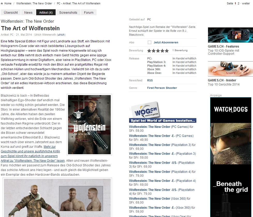 Ulrich Wimmeroth - The Art of Wolfenstein The New Order - Artbook Review
