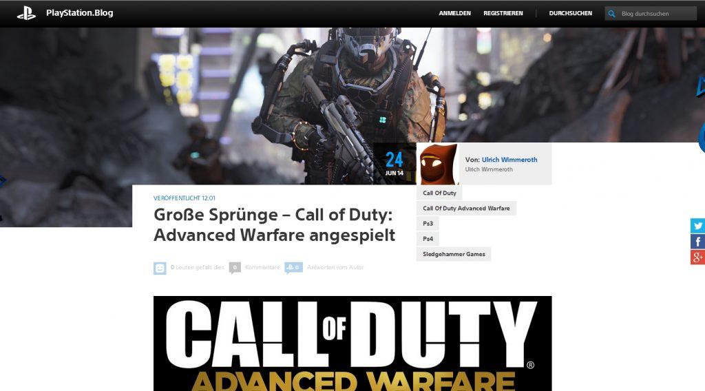 Ulrich Wimmeroth - Call of Duty Advanced Warfare - Playstation Blog