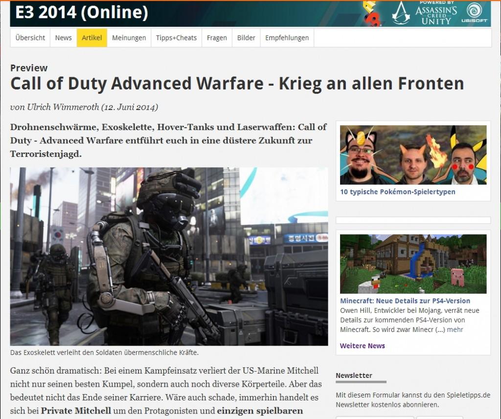 Ulrich Wimmeroth - Call of Duty Advanced Warfare - Vorschau www.spieletipps.de