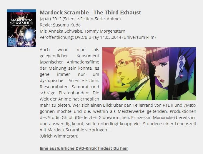 Ulrich Wimmeroth - DVD Tipp - Mardock Scramble - filmabriss.com