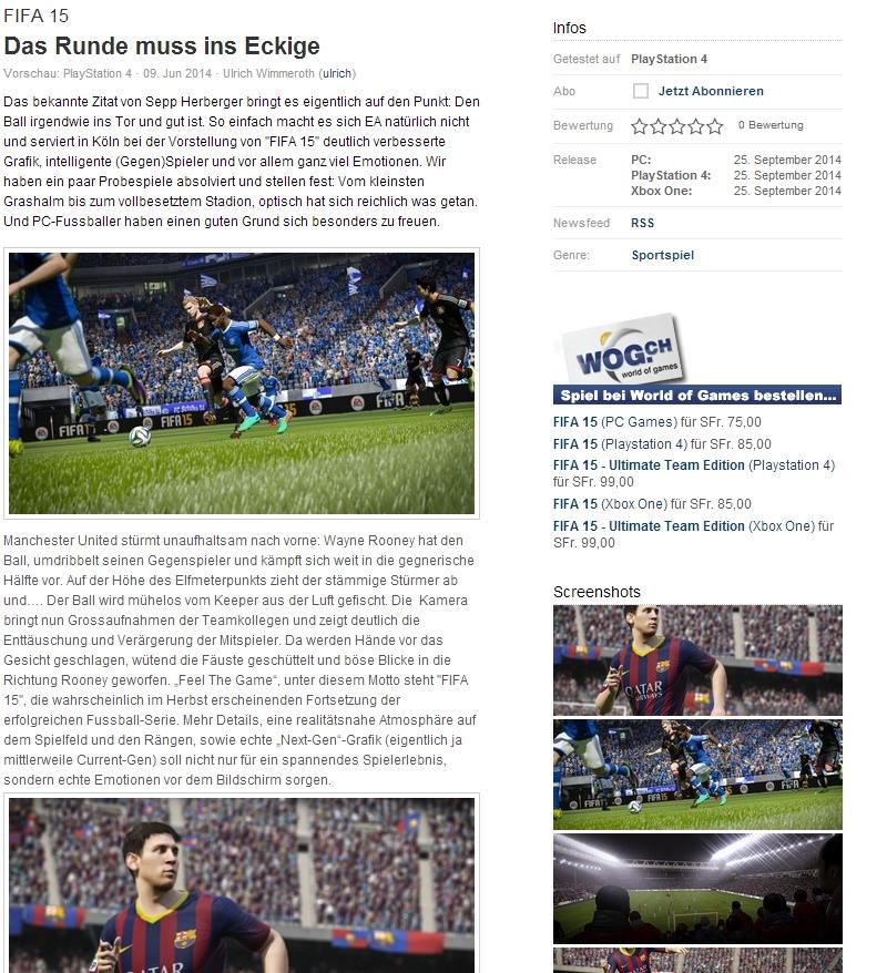 Ulrich Wimmeroth - FIFA 15 Vorschau - Das Runde muss in das Eckige - www.games.ch