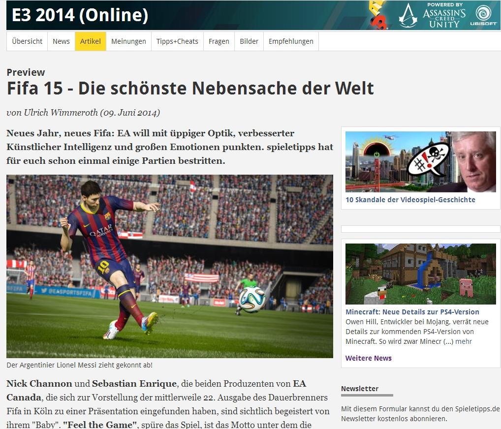 Ulrich Wimmeroth - FIFA 15 Vorschau - www.spieletipps.de