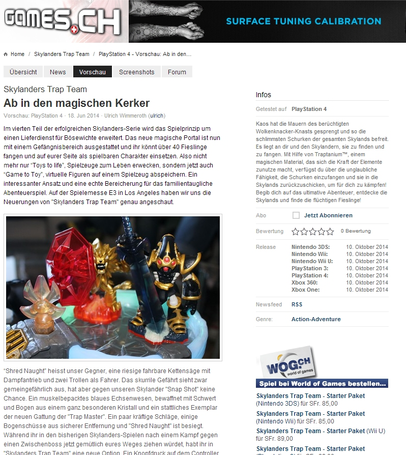 Ulrich Wimmeroth - Skylanders Trap Team - Preview - games.ch