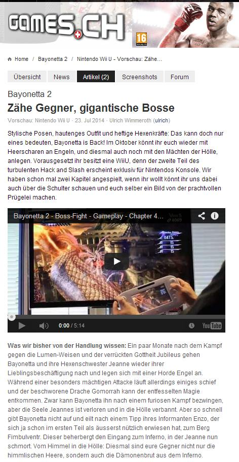 Ulrich Wimmeroth - Bayonetta 2 - Vorschau