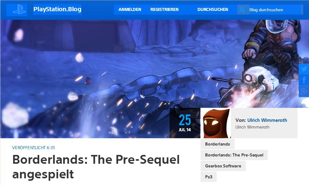 Ulrich Wimmeroth - Borderlands The Pre-Sequel - Playstation Blog