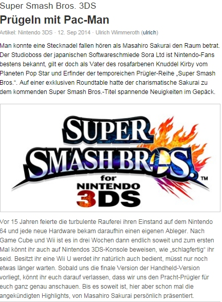 Ulrich Wimmeroth - Super Smash Bors Special