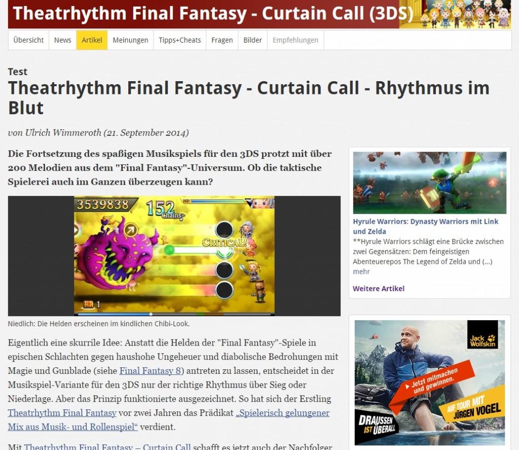 Ulrich Wimmeroth - Theatrhythm Curtain Call - spieletipps