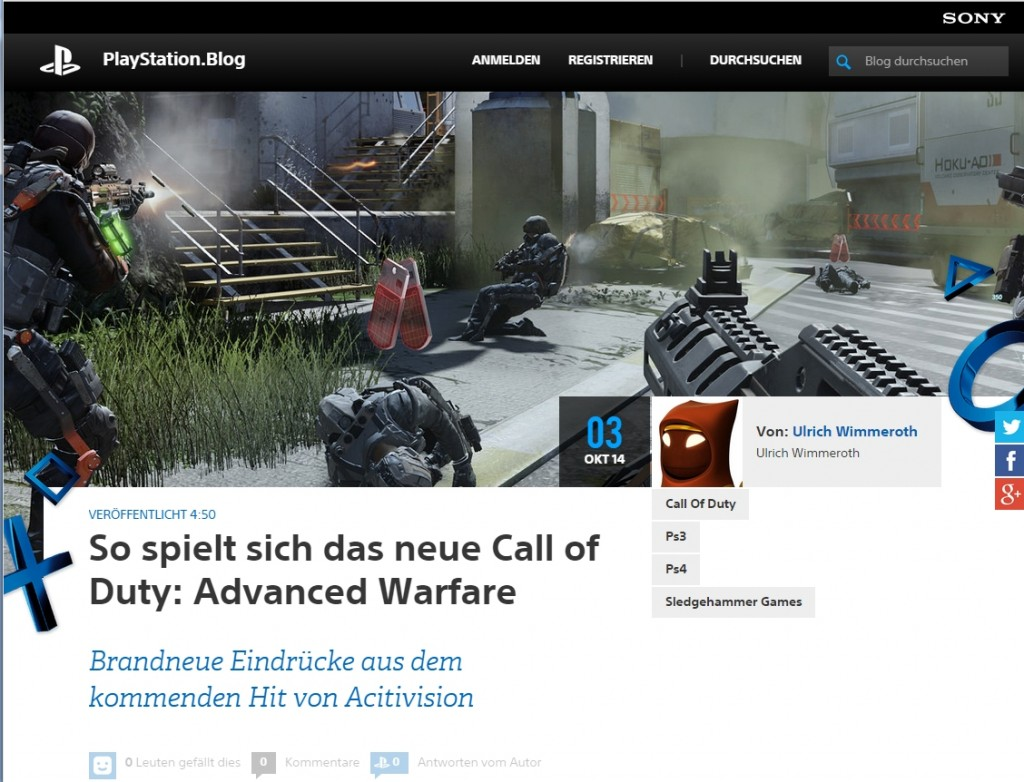 Ulich Wimmeroth - Call of Duty Advanced Warfare - Playstation Blog