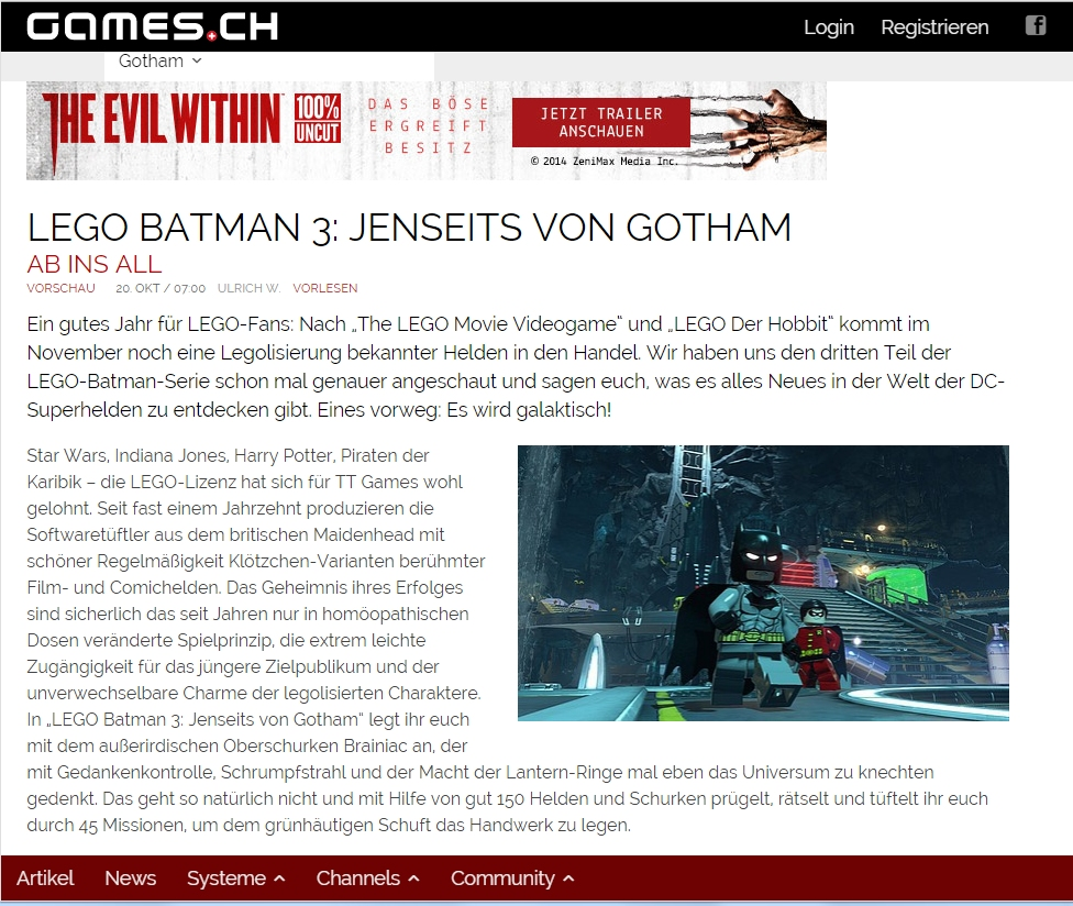Ulrich Wimmeroth - LEGO Batman 3 - games.ch