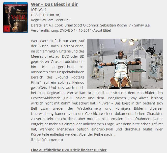 Ulrich Wimmeroth - Wer - Das Biest in Dir - DVD Tipp