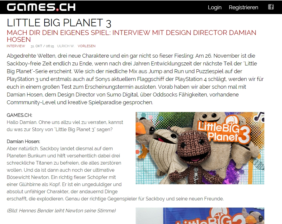 Ulrich Wimmeroth - Interview mit Damian Hosen - Little Big Planet 3