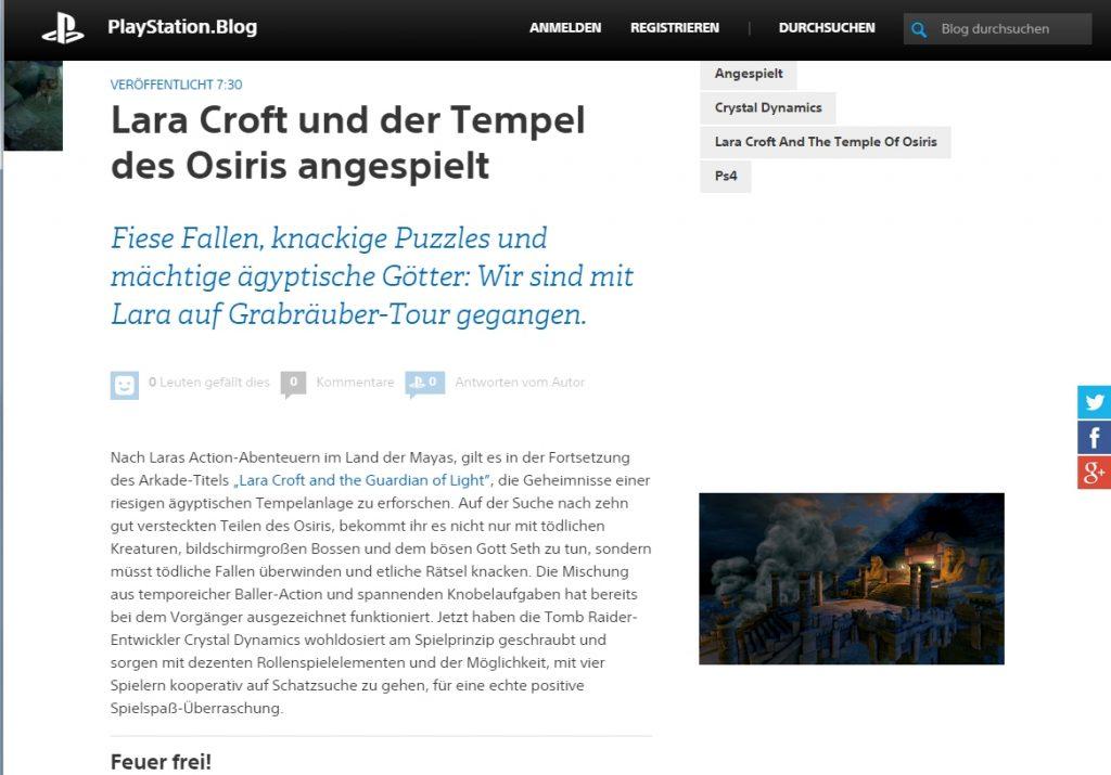 Ulrich Wimmeroth - Lara Croft und der Tempel des Osiris - Playstation blog
