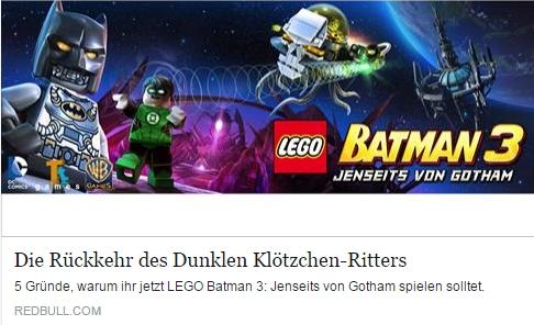 Ulrich Wimmeroth - Lego Batman 3 Jenseits von Gotham - redbull