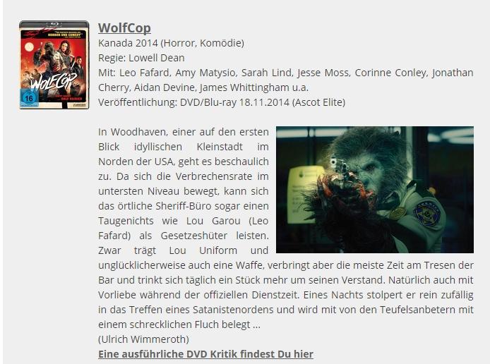 Ulrich Wimmeroth - Wolfcop - Filmabriss