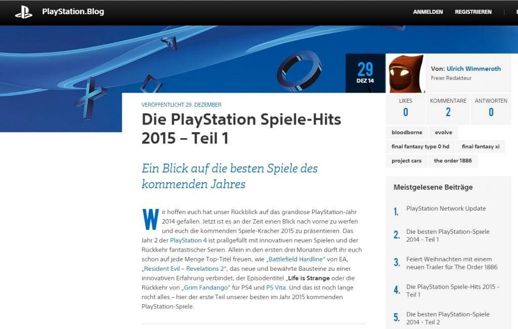 Ulrich Wimmeroth - Die PlayStation Spiele-Hits 2015 - Teil 1