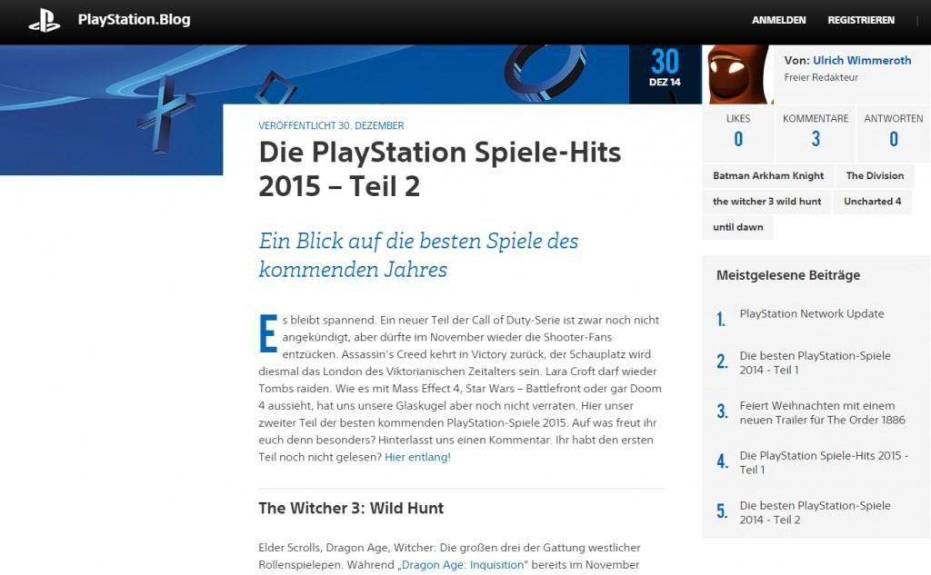 Ulrich Wimmeroth - Die PlayStation Spiele-Hits 2015 - Teil 2