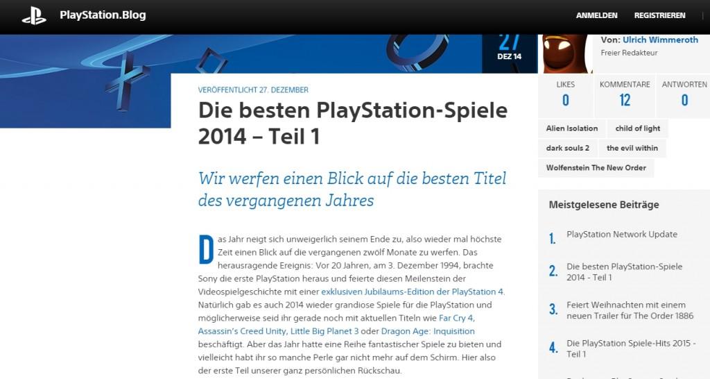 Ulrich Wimmeroth - Die besten PlayStation-Spiele 2014 - Teil 1