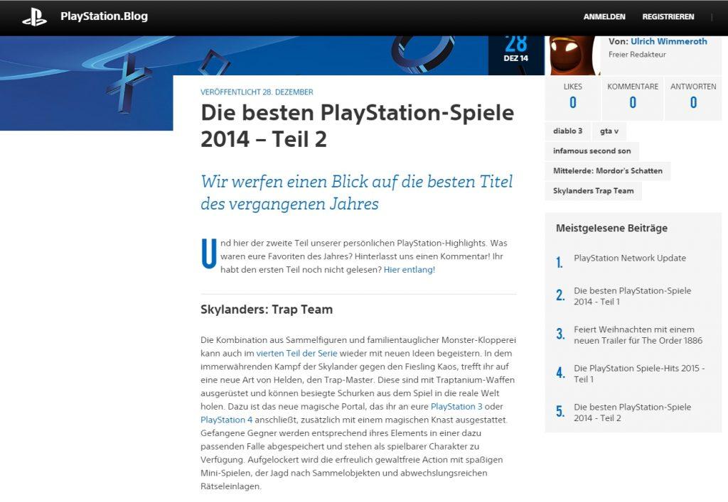 Ulrich Wimmeroth - Die besten PlayStation-Spiele 2014 - Teil 2