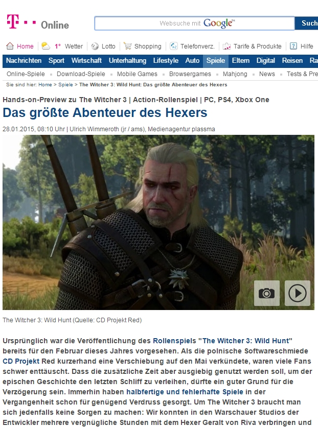 Ulrich Wimmeroth - The Witcher 3 - T-Online