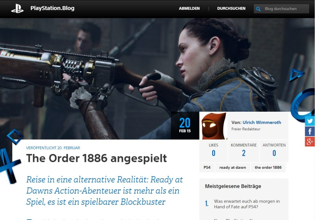 Ulrich Wimmeroth - The Order 1886 - playstation.blog