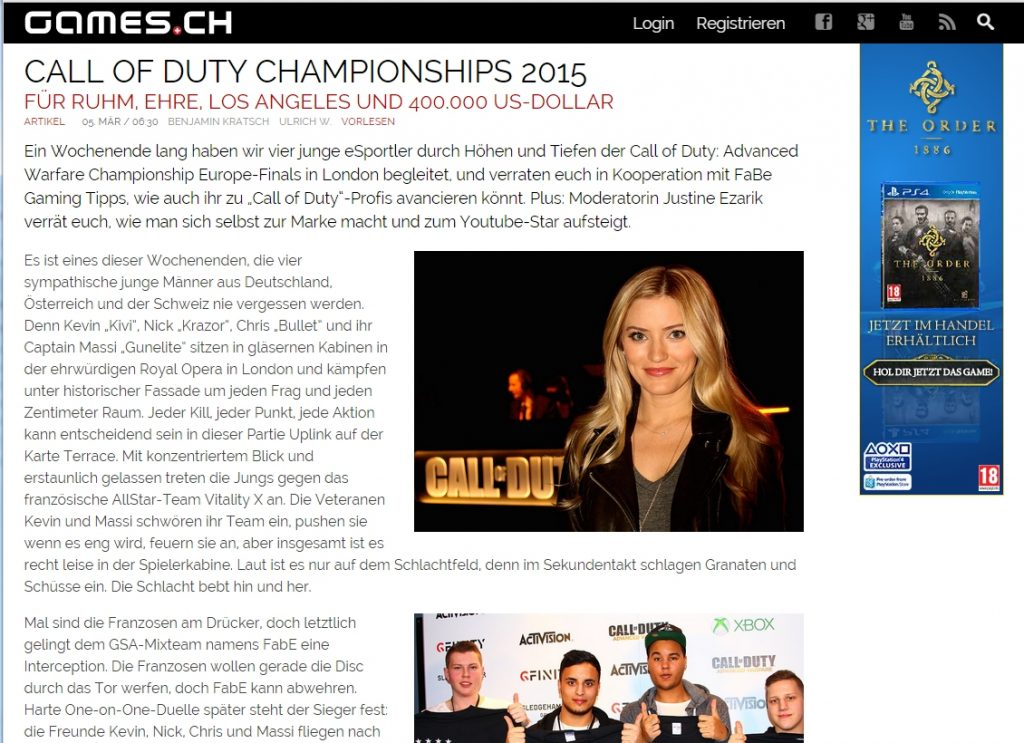 Ulrich Wimmeroth - Call of Duty european championship 2015 - games_ch