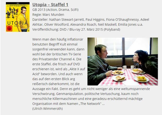 Ulrich Wimmeroth - Utopia Staffel 1 - Filmabriss