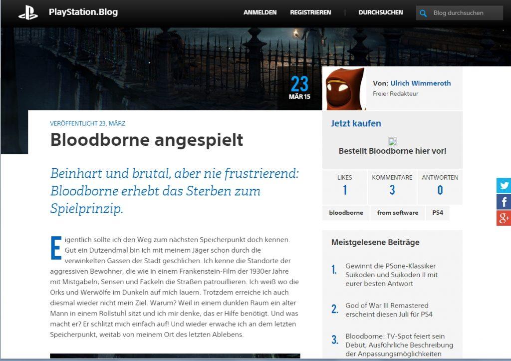 Ulrich wimmeroth - Bloodborne angespielt - PSBlog