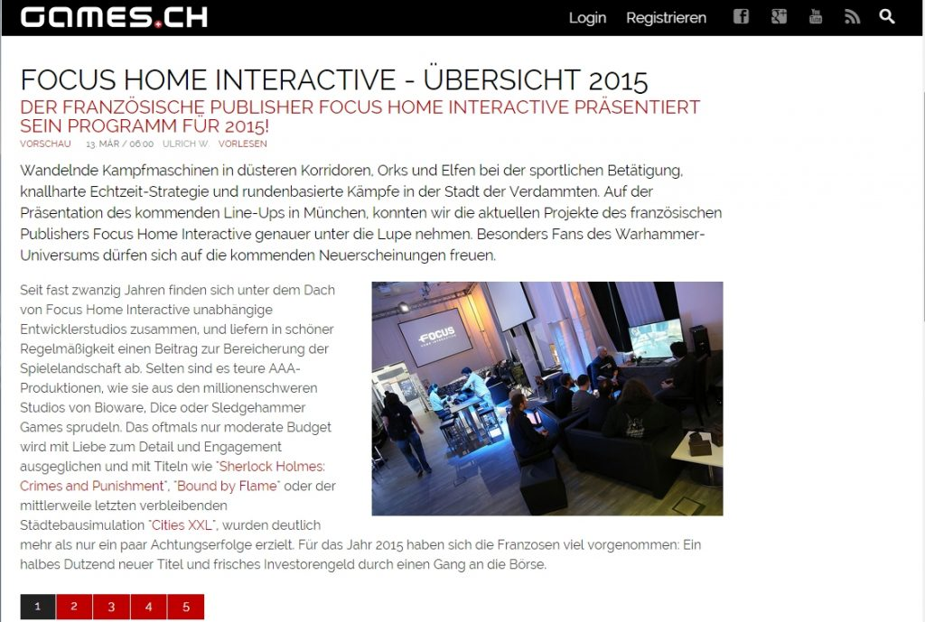 Ulrich wimmeroth - Focus Interactive Roundup - games_ch