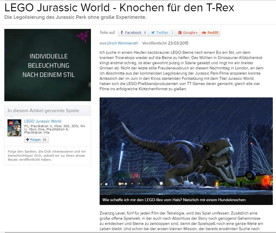 Ulrich wimmeroth - LEGO Jurassic World - eurogamer