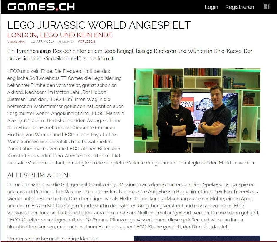 Ulrich wimmeroth - LEGO Jurassic World - games_ch