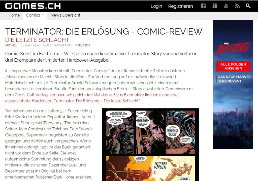 Ulrich Wimmeroth - Comic Review - Terminator Die Erloesung