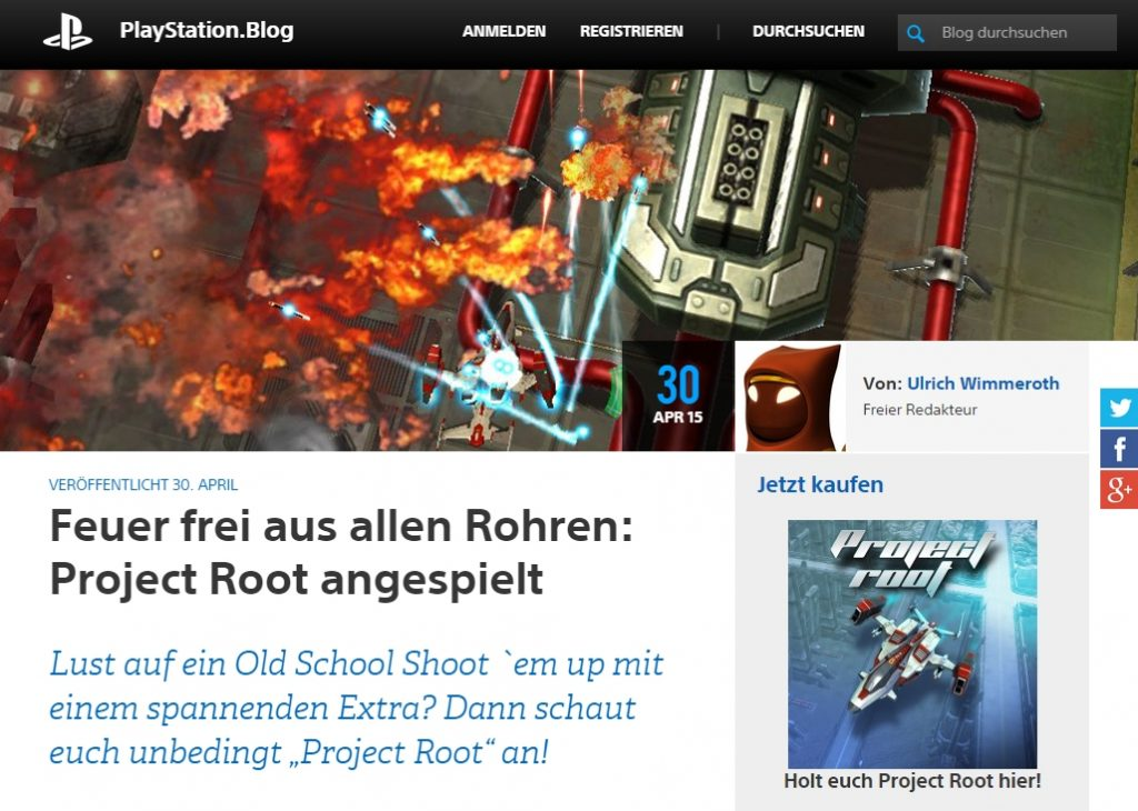 Ulrich Wimmeroth, Project Root - Playstation Blog