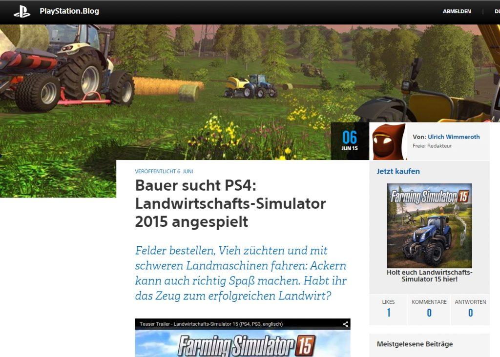 Ulrich Wimmeroth - Farming Simulator 2015 - PlayStation Blog