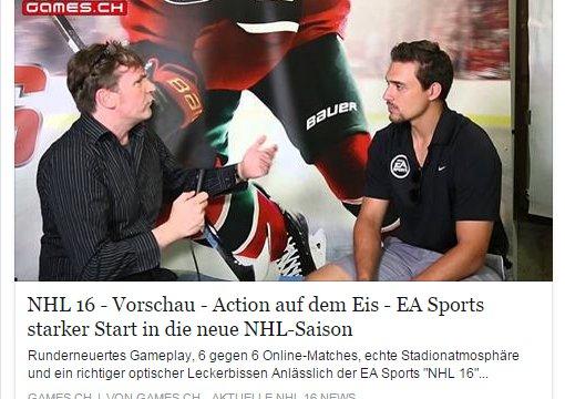 Ulrich Wimmeroth - NHL 16 Interview mit Nino Niederreiter - games.ch